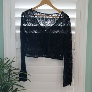 Kendall & Kylie Black Lace Crop Top|Bell Sleeve